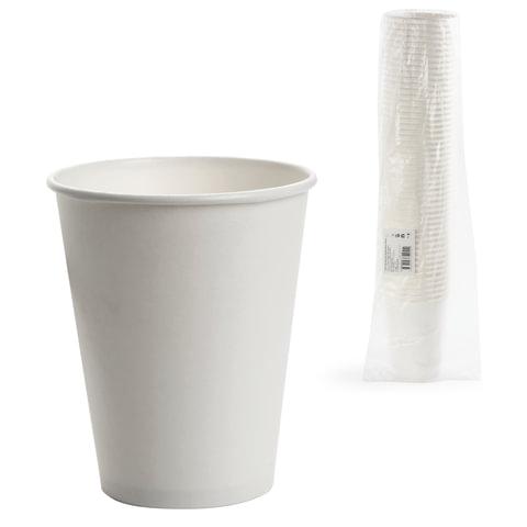 Одноразовые стаканы 300 мл, КОМПЛЕКТ 50 шт., бумажные однослойные, белые, холодное/горячее, ФОРМАЦИЯ, HB90-430-0000