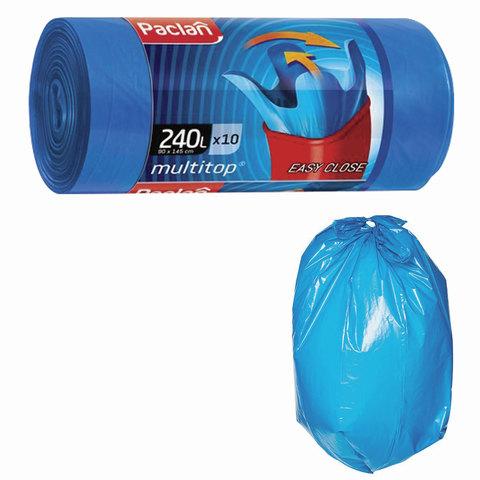 Мешки для мусора 240 л, с ушками, синие, в рулоне 10 шт., ПВД, 40 мкм, 90х145 см, PACLAN