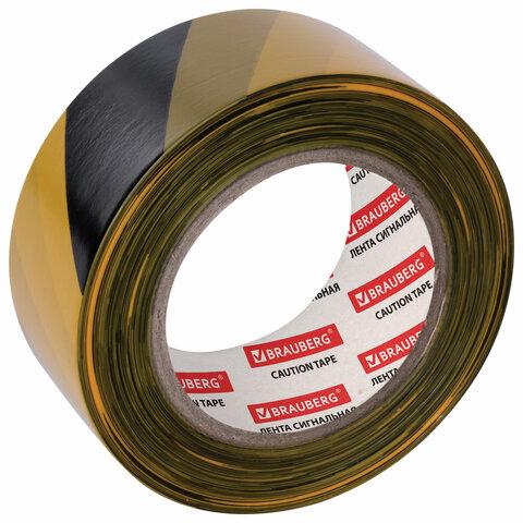 Лента сигнальная желто-черная, 50 мм х 200 м, BRAUBERG