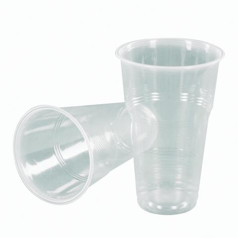 Одноразовые стаканы 500 мл, КОМПЛЕКТ 50 шт., пластиковые, прозрачные, ПП, холодное/горячее, СТИРОЛПЛАСТ